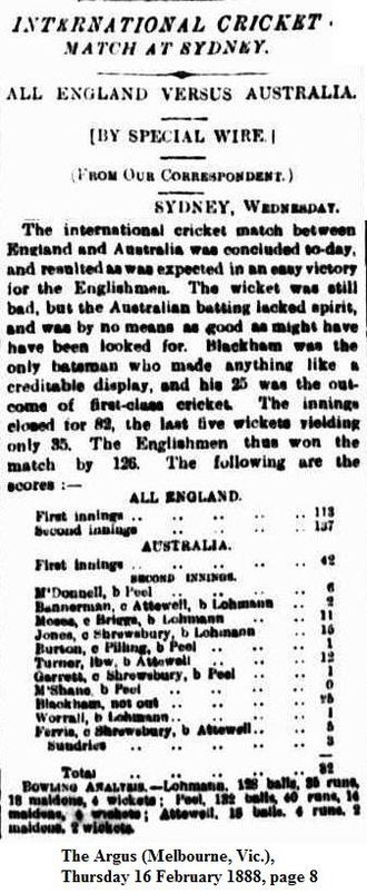 English cricket teams in Australia and New Zealand in 1887–88 - Newspaper article describing England's win in the test match.