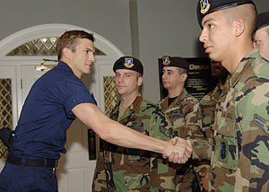 Ashton Kutcher greets 2nd Security Forces Squa...