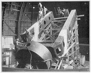 Mount Wilson Observatory - Workmen assembling the polar axis of the Hooker telescope