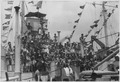 At 1000 hours on 8 May 1945 aboard HM-LST 538, word was received via radio from Delhi announcing the end of... - NARA - 540056.tif