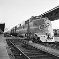 Atchison, Topeka, and Santa Fe, Diesel Electric Passenger Locomotive No. 13, at Station Platform (15657172341).jpg