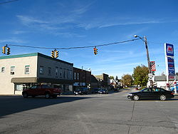 Downtown viewed from South Main Street, looking toward the intersection of Ohio 4 and U.S. 224
