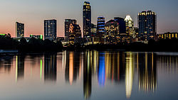 Downtown skyline as seen from the boardwalk on Lady Bird Lake