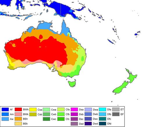 Australia-Oceania Köppen Map