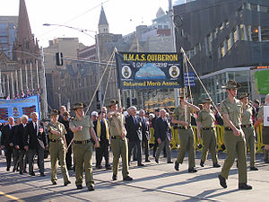 Australian Army Cadets - Cadets of the 306 ACU and Australian veterans parading in Melbourne on ANZAC Day.