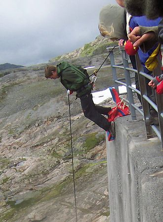 Abseiling - Australian rappel demonstrated at a dam in Norway