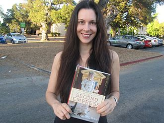Michelle Moran - Michelle Moran with a copy of her fifth book, The Second Empress