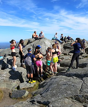 Mount Monadnock - Typical crowded summit of Mt. Monadnock on a sunny autumn day