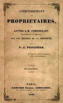 Pierre joseph proudhon wikip dia - Comment retrouver un titre de propriete ...