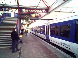 Aylesbury railway station - Platform 3 with a train about to depart for Marylebone
