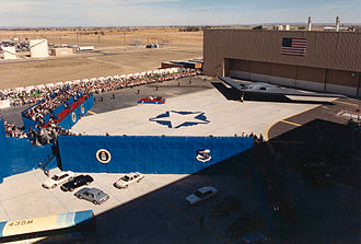 United States Air Force Plant 42 - Northrop B-2A roll-out ceremony on Nov. 22, 1988 at USAF Plant 42, Palmdale, California.