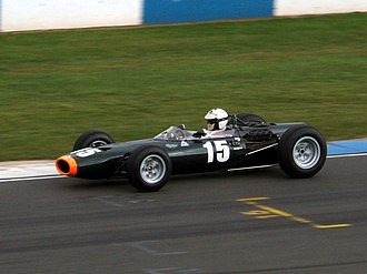 Richard Attwood - Attwood driving a BRM P261 Formula One car, identical (apart from engine capacity) to the one which he drove in the Tasman Series in 1966 and 1967.
