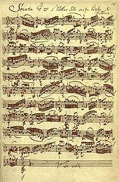 Sonata 1ma á Violino Solo senza Baßo di JSBach: Adagio; Autograph 1720 (Quelle: Wikimedia)