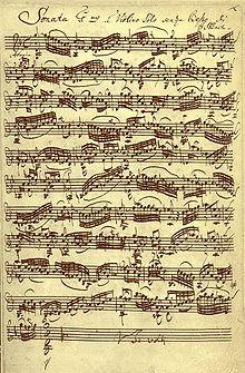 Esempio per un manoscritto musicale: Johann Sebastian Bach, Sonata per violino solo, BWV 1001