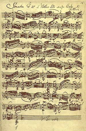 Répertoire International des Sources Musicales - Example of a music manuscript: Johann Sebastian Bach, Sonata for Violin Solo, BWV 1001