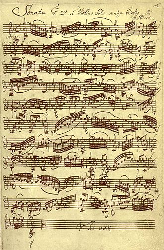 Répertoire International des Sources Musicales - Example of a music manuscript: Johann Sebastian Bach, Sonata for Violin Solo, BWV 1001
