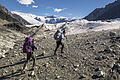 Backpackers Stepping onto the Root Glacier (20977719713).jpg