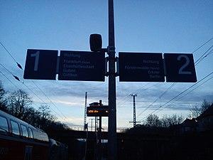 Frankfurt (Oder)-Rosengarten station - The platform indicator