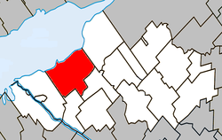 Location within Nicolet-Yamaska Regional County Municipality