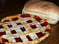 Baking day - bread and cherry pie, July 2006.jpg