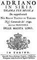 Baldassare Galuppi - Adriano in Siria - titlepage of the libretto - Turin 1740.png