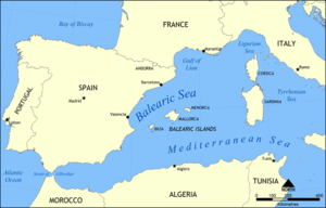 Balearic Sea - Location of the Balearic Sea