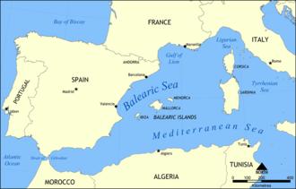 Balearic Sea - Location of the Balearic Sea
