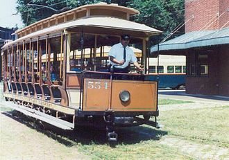 Baltimore Streetcar Museum - An 1896 open car in operation at the Baltimore Streetcar Museum