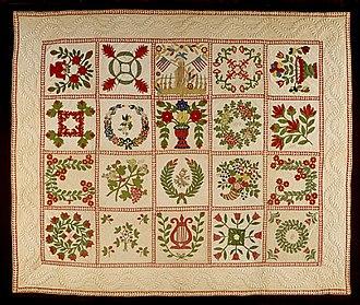 Baltimore album quilts - Image: Baltimore Album Memorial Quilt LACMA AC1992.65.1