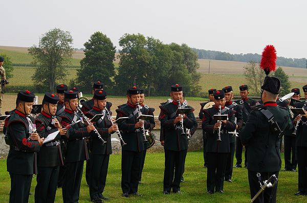 Band of the Brigade of Gurkhas performing in France, 2014. Band of the Brigade of Gurkhas.jpg