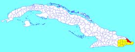 Baracoa municipo (ruĝa) ene de Guantanama Provinco (flava) kaj Kubo