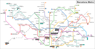Barcelona's Metro system and link to airport. Notable stations for travellers are highlighted.