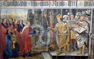 Lambert Barnard - Panel painting by Lambert Barnard for Chichester Cathedral; depicts the event in 686 when King Caedwalla issued a charter confirming the rights and territories previously given to Wilfrid by King Aethelwealh and the estate of the Hundred of Pagham. Note: the man in white looking over the left shoulder of the king is believed to be a self-portrait of Barnard