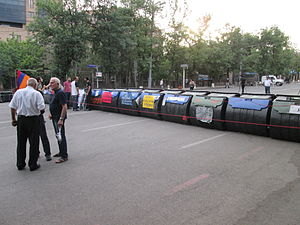 Barricade from trash cans in Yerevan 01.JPG