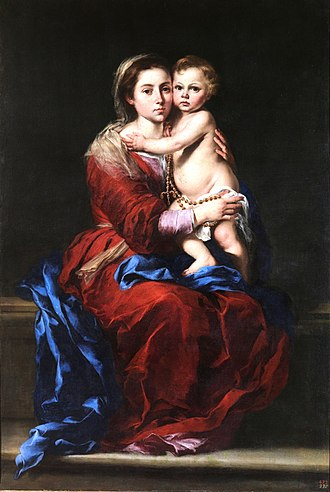 Secret of the Rosary - Madonna with the Rosary by Murillo, 1650.
