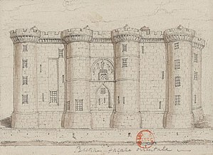 Bastille, eastern façade , drawing of 1790 or 1791