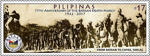 Filippinskt frimärke till minne av dödsmarschen på Bataan