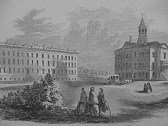 Campus of Bates College - The college in the 1856, with Parker Hall and Hathorn Hall shown in foreground