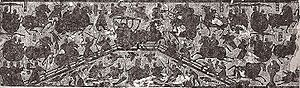 Campaign against Dong Zhuo - Rubbing of a low bas-relief carving on the west wall of the Wu family shrines in Shandong, dated 2nd century AD, showing a battle scene at a bridge