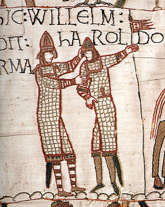 Scene from the Bayeux Tapestry whose text indicates William supplying weapons to Harold during Harold's trip to the continent in 1064 Bayeuxtapestrywilliamgivesharoldarms.jpg