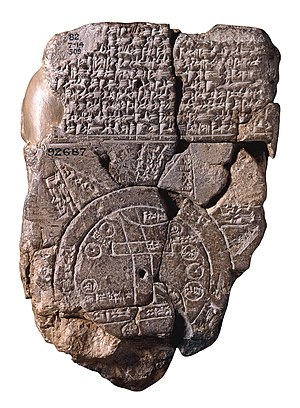 Flat Earth - Imago Mundi Babylonian map, the oldest known world map, 6th century BC Babylonia