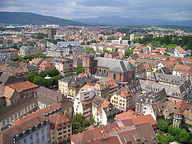 An aerial view of Belfort with the cathedral of Saint-Christophe in the foreground