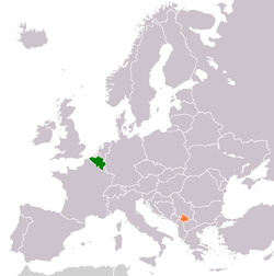 Map indicating locations of Belgium and Kosovo