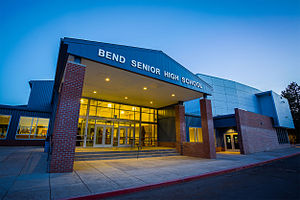 Bend Senior High School - Main entrance in 2014