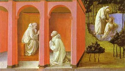 Saint Benedict orders Saint Maurus to the rescue of Saint Placidus, by Fra Filippo Lippi, 1445 A.D. Benedetto, Mauro e Placido.jpg