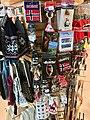 Bergen Airport, Flesland, Norway (Bergen lufthavn). Norwegian souvenirs (key rings, caps, stickers etc.) with flags, trolls, moose, elk, etc. for sale. 2018-03-23 A.jpg