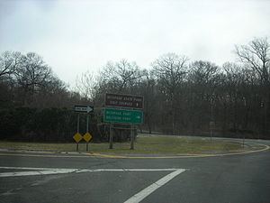 Bethpage State Parkway - The Bethpage Parkway's northern terminus at the traffic circle in Bethpage