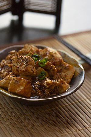 Mapo doufu - A plate of mapo doufu