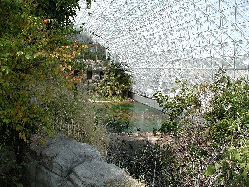 Biosphere 2, first large scale attempt at a self enclosed biosphere type habitat