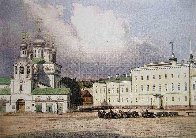 Благовещенский собор и здание гимназии в Нижнем Новгороде. Акварель И. И. Шишкина по фотографии А.О.Карелина, 1870-е годы